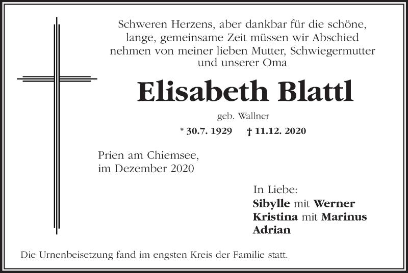 Traueranzeige für Elisabeth Blattl vom 30.12.2020 aus ovb