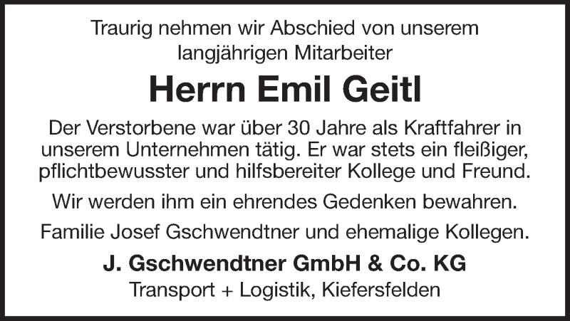 Traueranzeige für Emil Geitl vom 16.12.2020 aus ovb