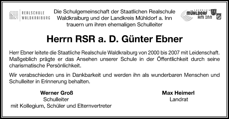Traueranzeige für Günter Ebner vom 05.12.2020 aus ovb