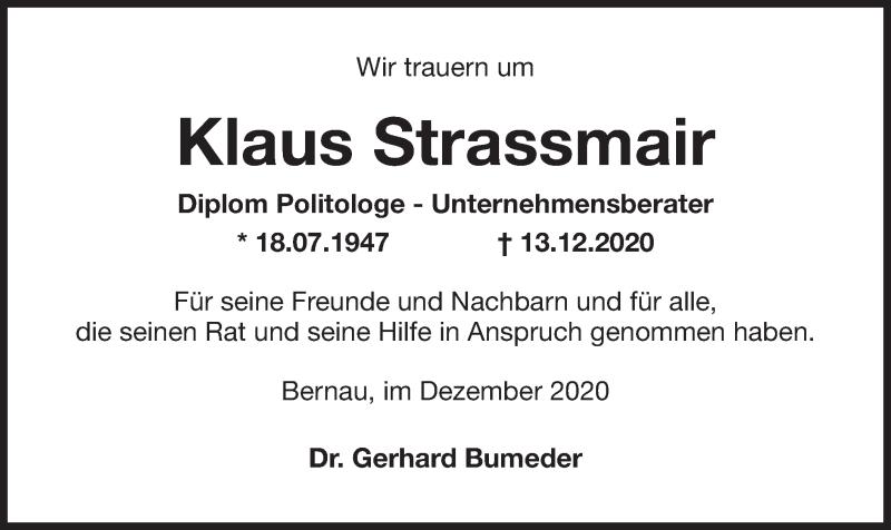 Traueranzeige für Klaus Strassmair vom 19.12.2020 aus ovb