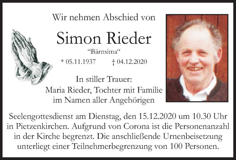 Traueranzeige für Simon Rieder vom 12.12.2020 aus ovb