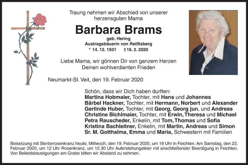 Anzeige von  Barbara Brams