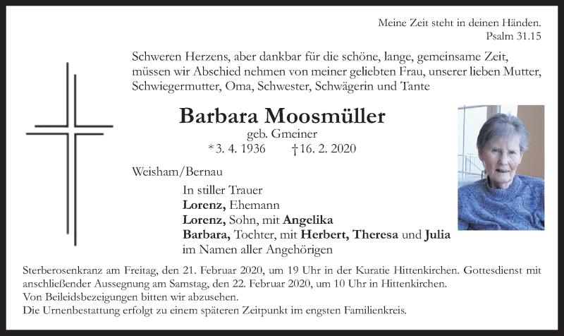 Anzeige von  Barbara Moosmüller