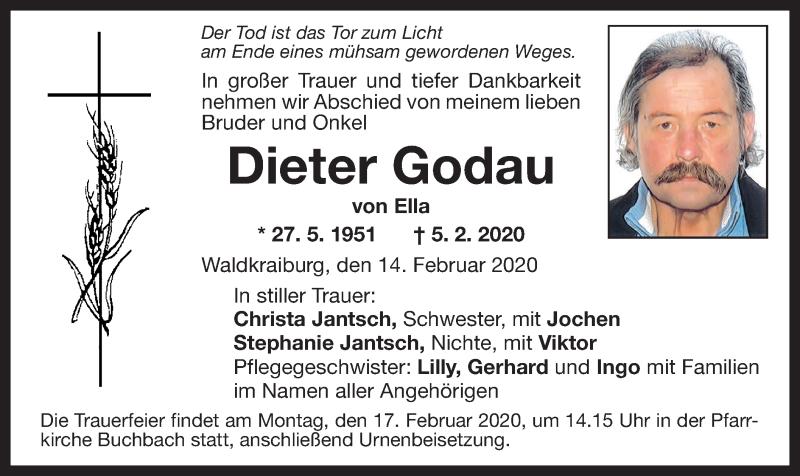 Traueranzeige für Dieter Godau vom 14.02.2020 aus ovb