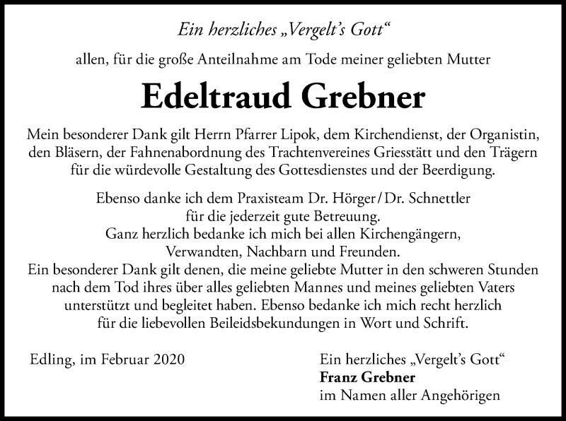 Traueranzeige für Edeltraud Grebner vom 27.02.2020 aus ovb