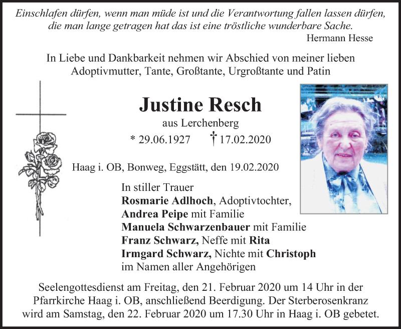 Anzeige von  Justine Resch