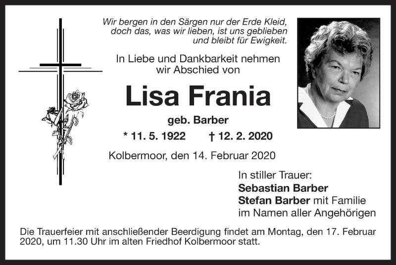Traueranzeige für Lisa Frania vom 14.02.2020 aus ovb
