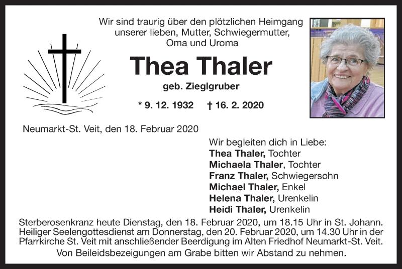 Anzeige von  Thea Thaler