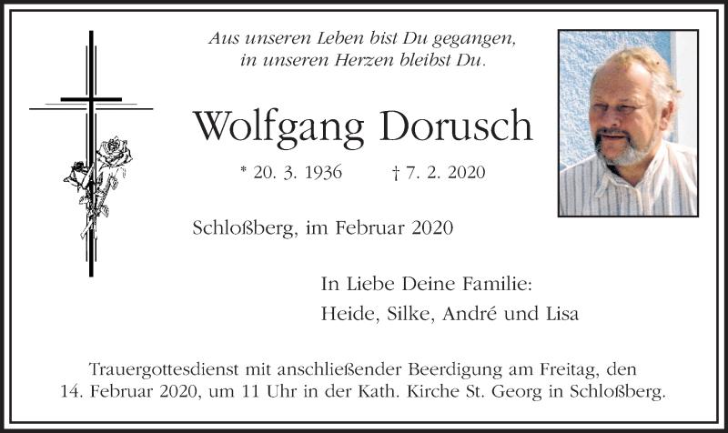 Traueranzeige für Wolfgang Dorusch vom 12.02.2020 aus ovb