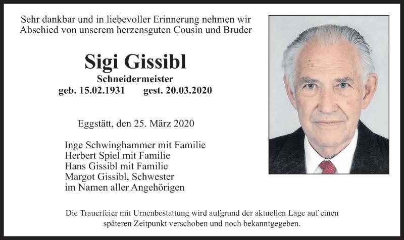 Traueranzeige für Sigi Gissibl vom 25.03.2020 aus ovb