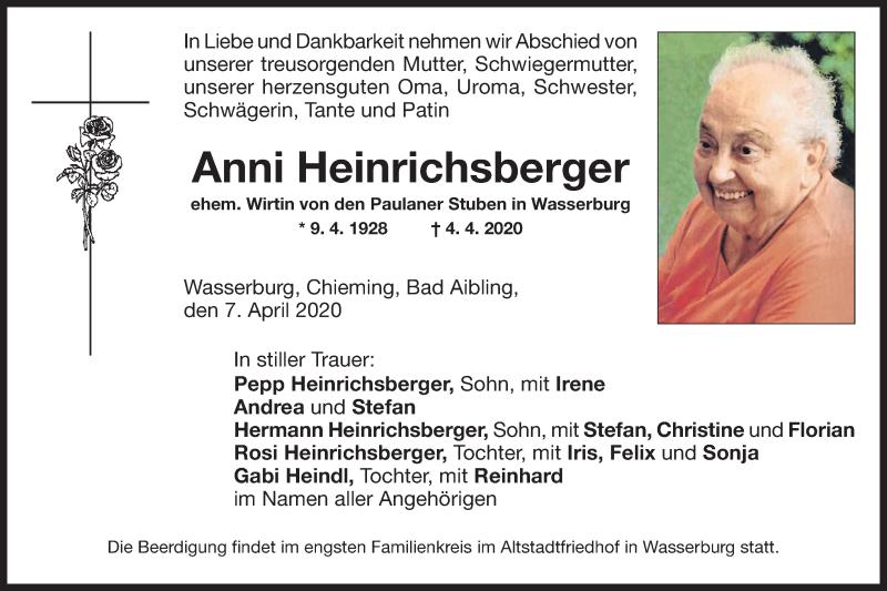 Anzeige von  Anni Heinrichsberger
