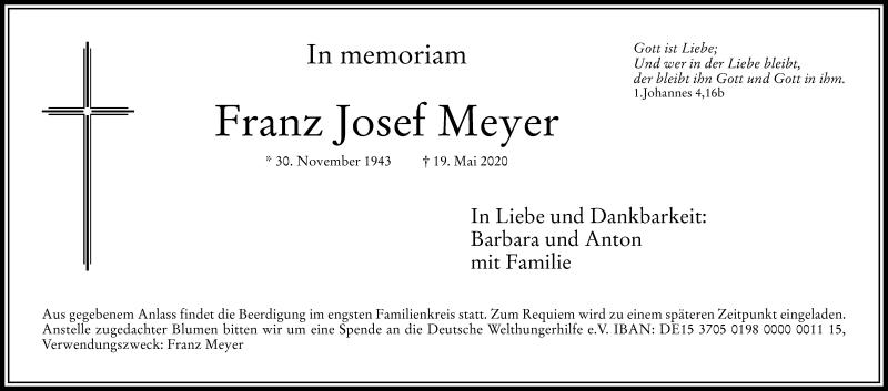 Anzeige von  Franz Josef Meyer