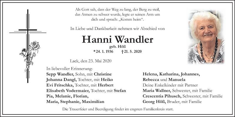 Anzeige von  Hanni Wandler