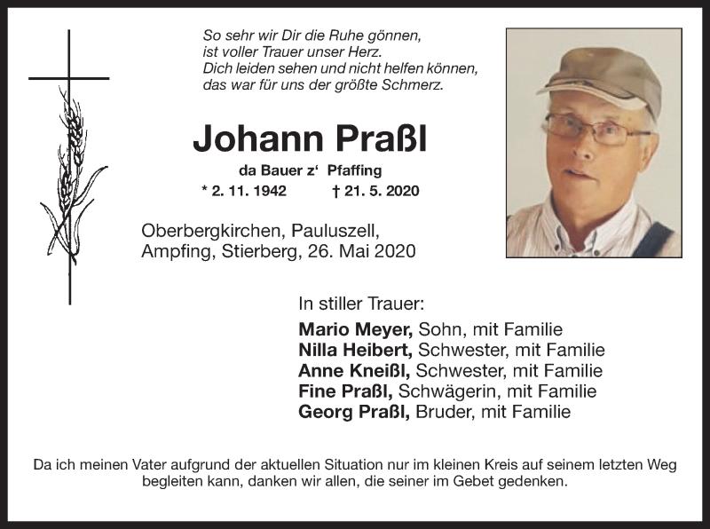 Anzeige von  Johann Praßl