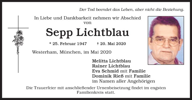 Anzeige von  Sepp Lichtblau