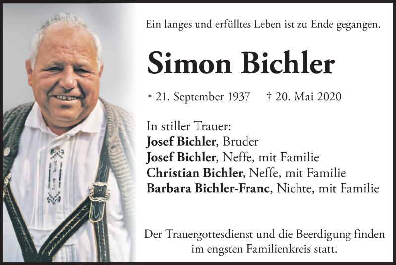 Traueranzeige für Simon Bichler vom 22.05.2020 aus ovb