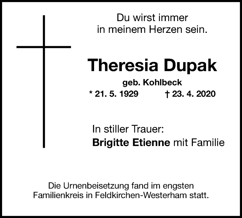 Anzeige von  Theresia Dupak