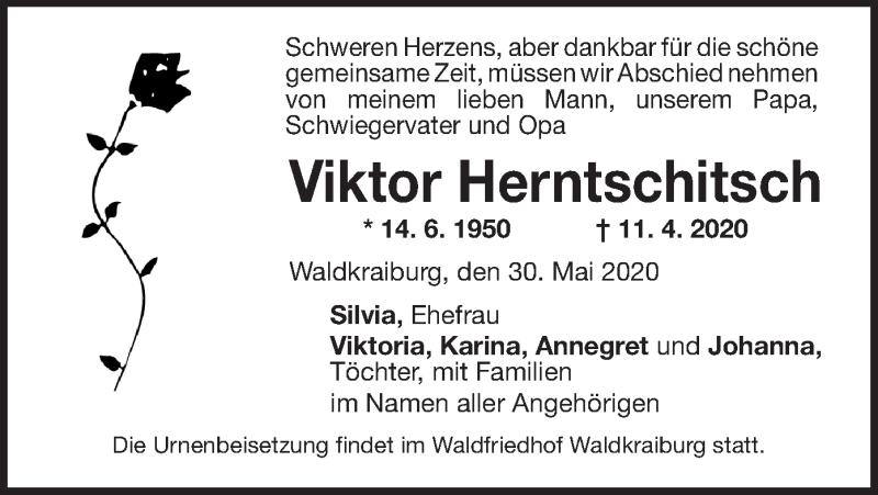 Traueranzeige für Viktor Herntschitsch vom 30.05.2020 aus ovb
