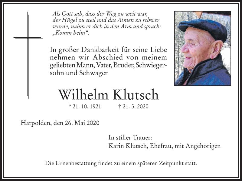 Anzeige von  Wilhelm Klutsch