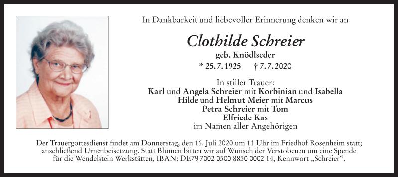 Anzeige von  Clothilde Schreier