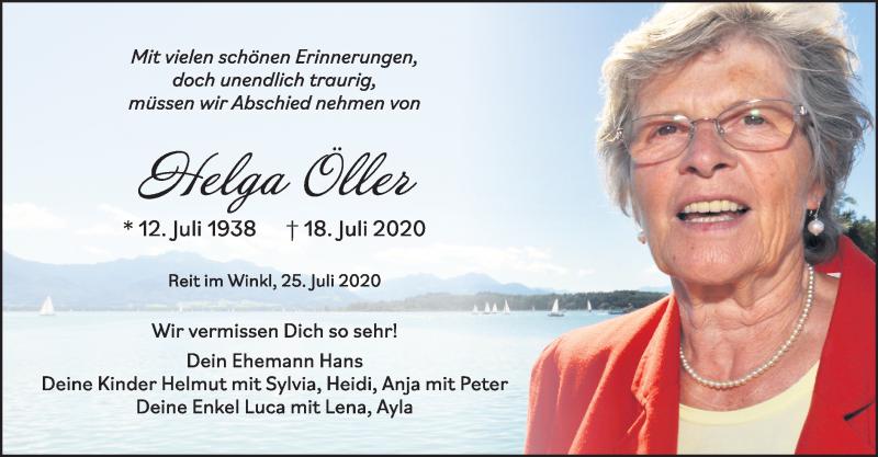 Traueranzeige für Helga Öller vom 25.07.2020 aus ovb