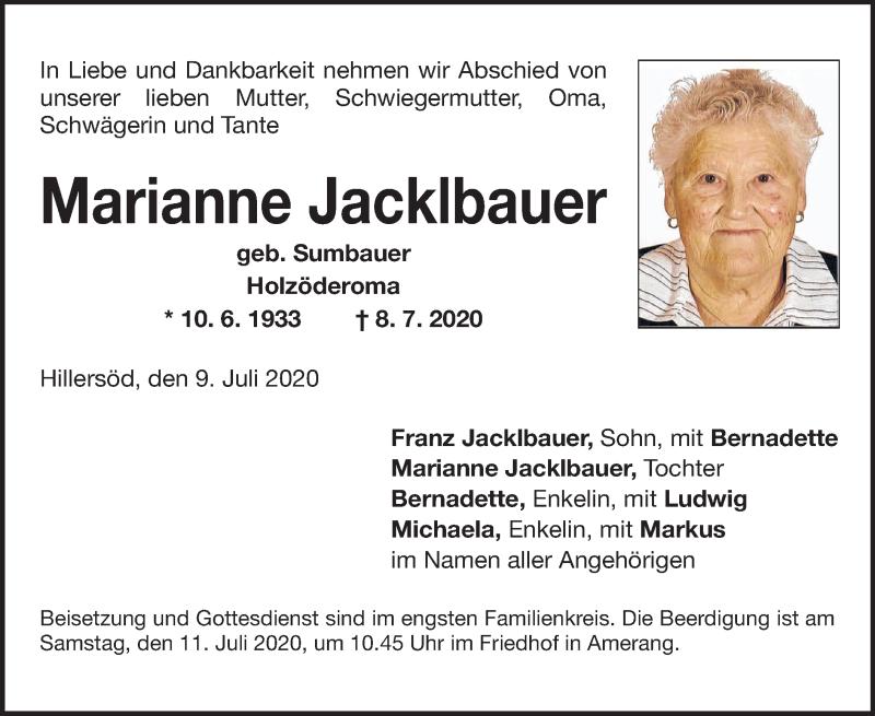 Anzeige von  Marianne Jacklbauer