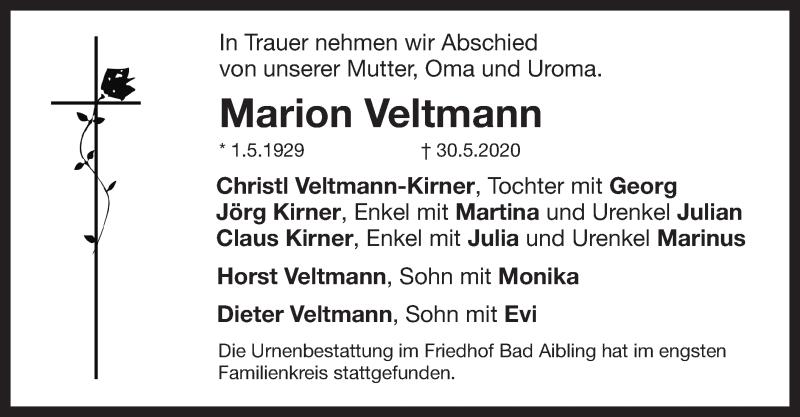 Traueranzeige für Marion Veltmann vom 04.07.2020 aus ovb