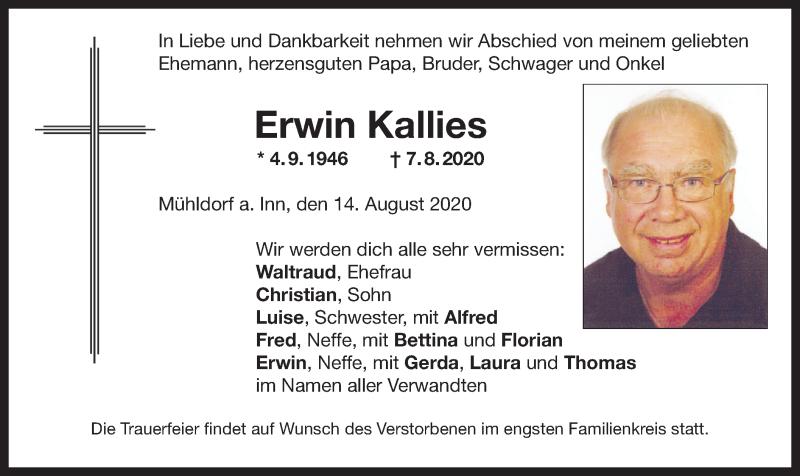 Anzeige von  Erwin Kallies
