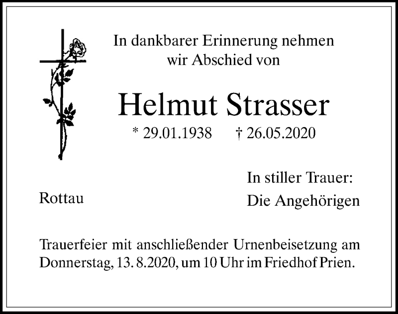Anzeige von  Helmut Strasser