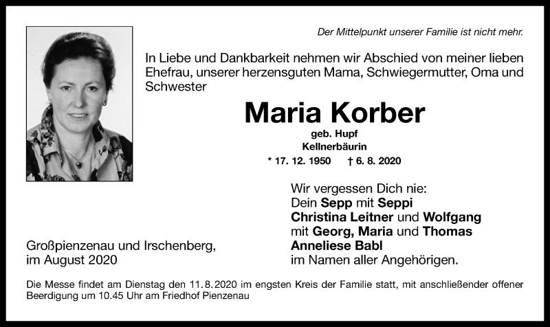 Anzeige von  Maria Korber