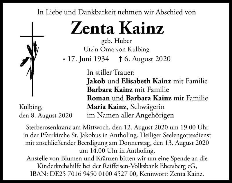 Anzeige von  Zenta Kainz