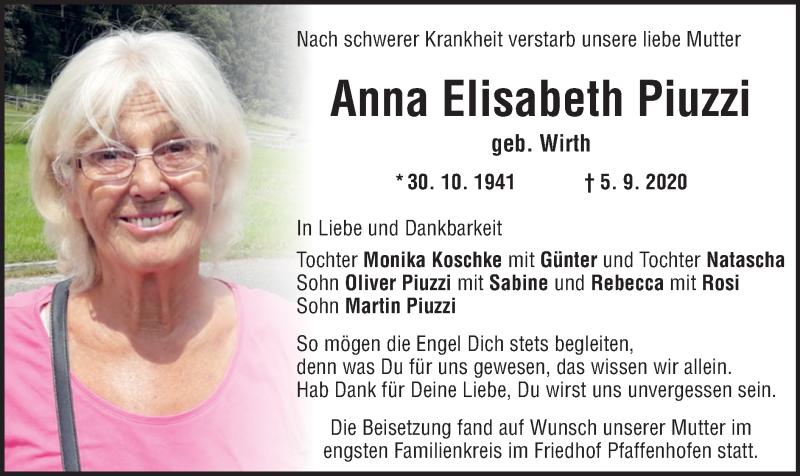 Traueranzeige für Anna Elisabeth Piuzzi vom 19.09.2020 aus ovb
