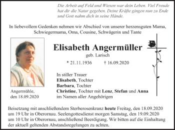 Traueranzeige von Elisabeth Angermüller von ovb