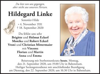 Traueranzeige von Hildegard Linke von ovb