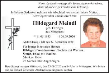 Traueranzeige von Hildegard Meindl von ovb