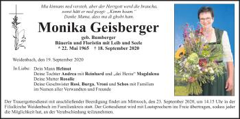 Traueranzeige von Monika Geisberger von ovb