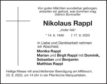 Traueranzeige von Nikolaus Rappl von ovb