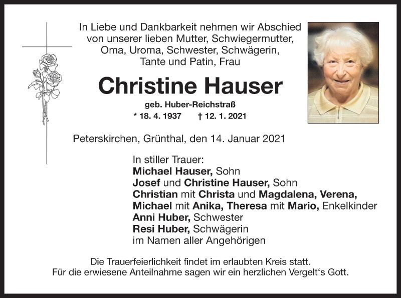 Traueranzeige für Christine Hauser vom 14.01.2021 aus ovb