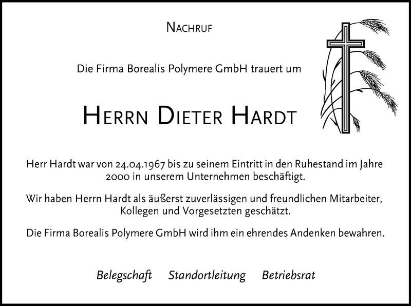 Traueranzeige für Dieter Hardt vom 30.01.2021 aus ovb