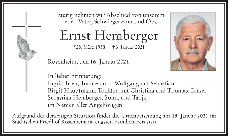 Traueranzeige für Ernst Hemberger vom 16.01.2021 aus ovb