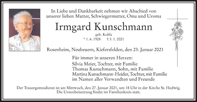 Traueranzeige für Irmgard Kunschmann vom 23.01.2021 aus ovb
