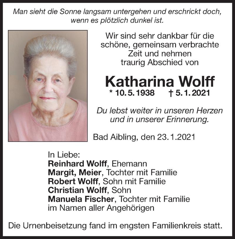 Traueranzeige für Katharina Wolff vom 23.01.2021 aus ovb