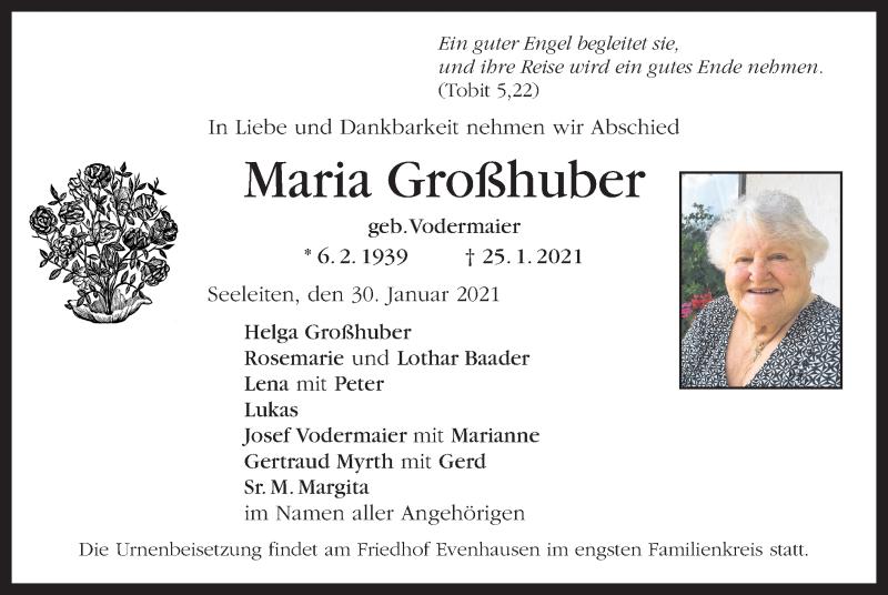 Traueranzeige für Maria Großhuber vom 30.01.2021 aus ovb
