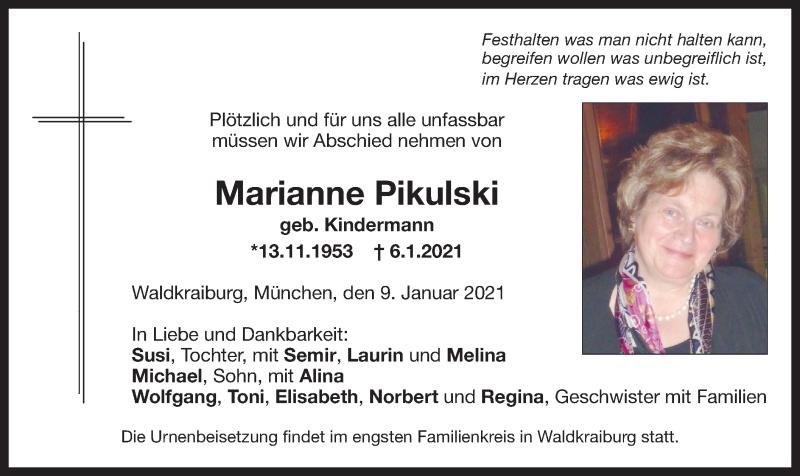 Traueranzeige für Marianne Pikulski vom 09.01.2021 aus ovb