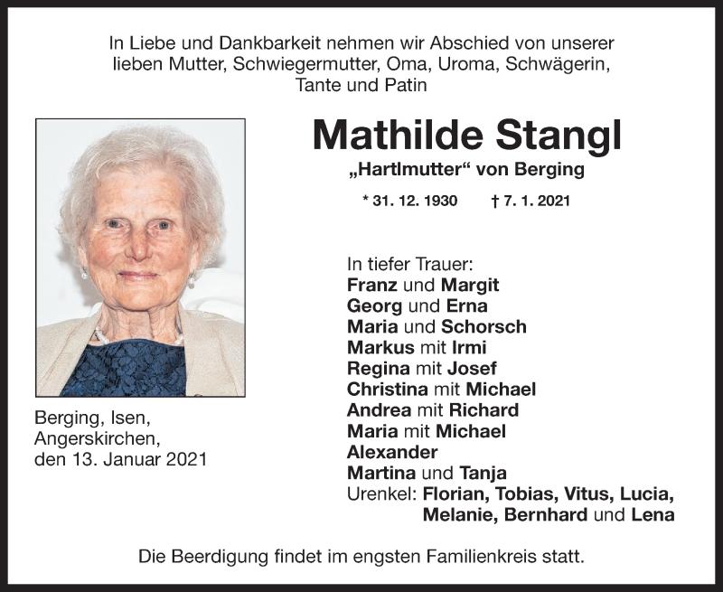 Traueranzeige für Mathilde Stangl vom 13.01.2021 aus ovb