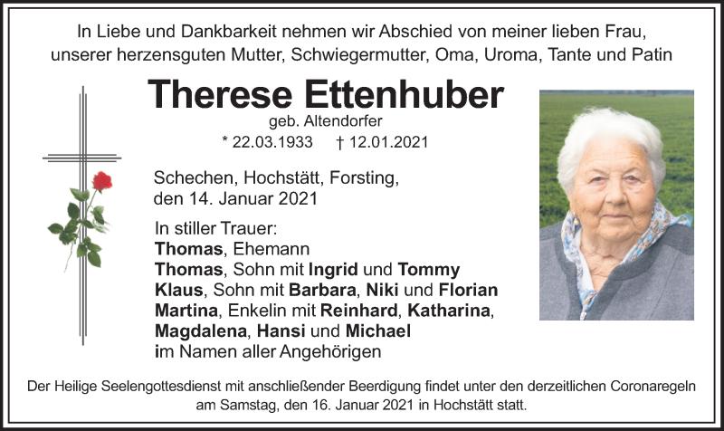 Traueranzeige für Therese Ettenhuber vom 14.01.2021 aus ovb
