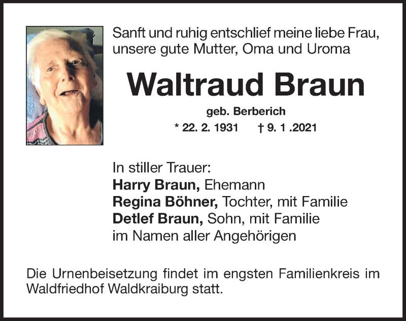 Traueranzeige für Waltraud Braun vom 12.01.2021 aus ovb