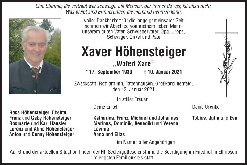 Traueranzeige für Xaver Höhensteiger vom 13.01.2021 aus ovb
