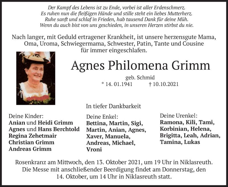 Traueranzeige für Agnes Philomena Grimm vom 13.10.2021 aus ovb