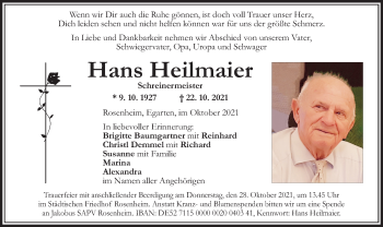 Traueranzeige von Hans Heilmaier von ovb